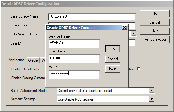 Setting up an oracle odbc driver and data source.