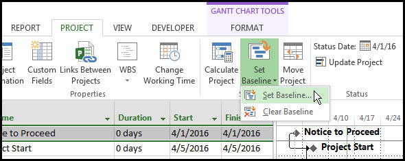 Displaying Two Baselines In Microsoft Project Gantt Chart