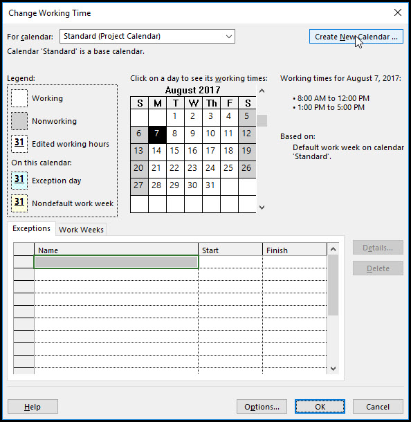 Microsoft Project Using Shading Calendar to Show Time Periods Fig 2