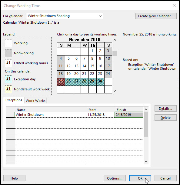 Microsoft Project Using Shading Calendar to Show Time Periods Fig 4