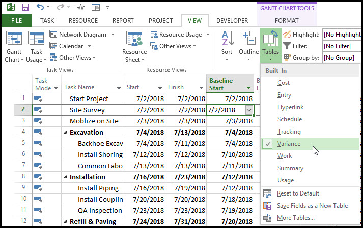 Monitoring Schedule Slippage in Microsoft Project