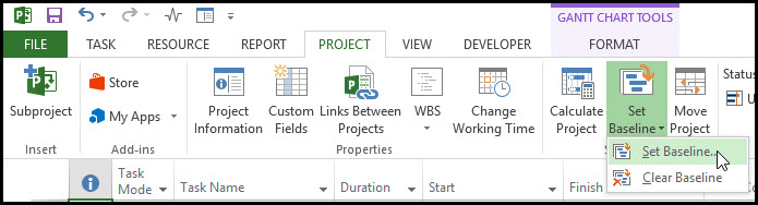 Microsoft Project Earned Value Management Fig 2