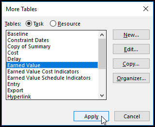 Microsoft Project Earned Value Management Fig 7