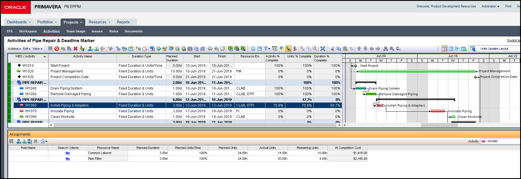 Tracking Activities with Multiple Resources In Primavera P6 EPPM Fig 5