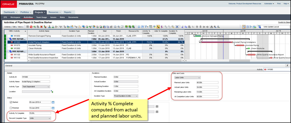 Tracking Activities with Multiple Resources In Primavera P6 EPPM Fig 8