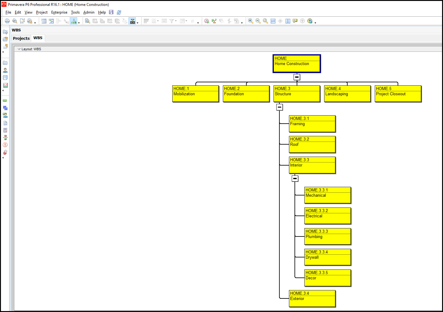 Creating a Work Breakdown Structure (WBS) in Primavera P6