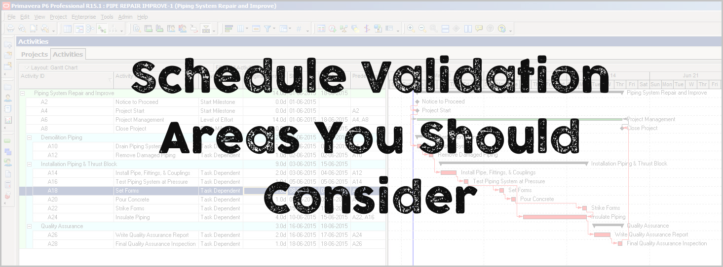 Schedule Validation – Areas You Should Consider