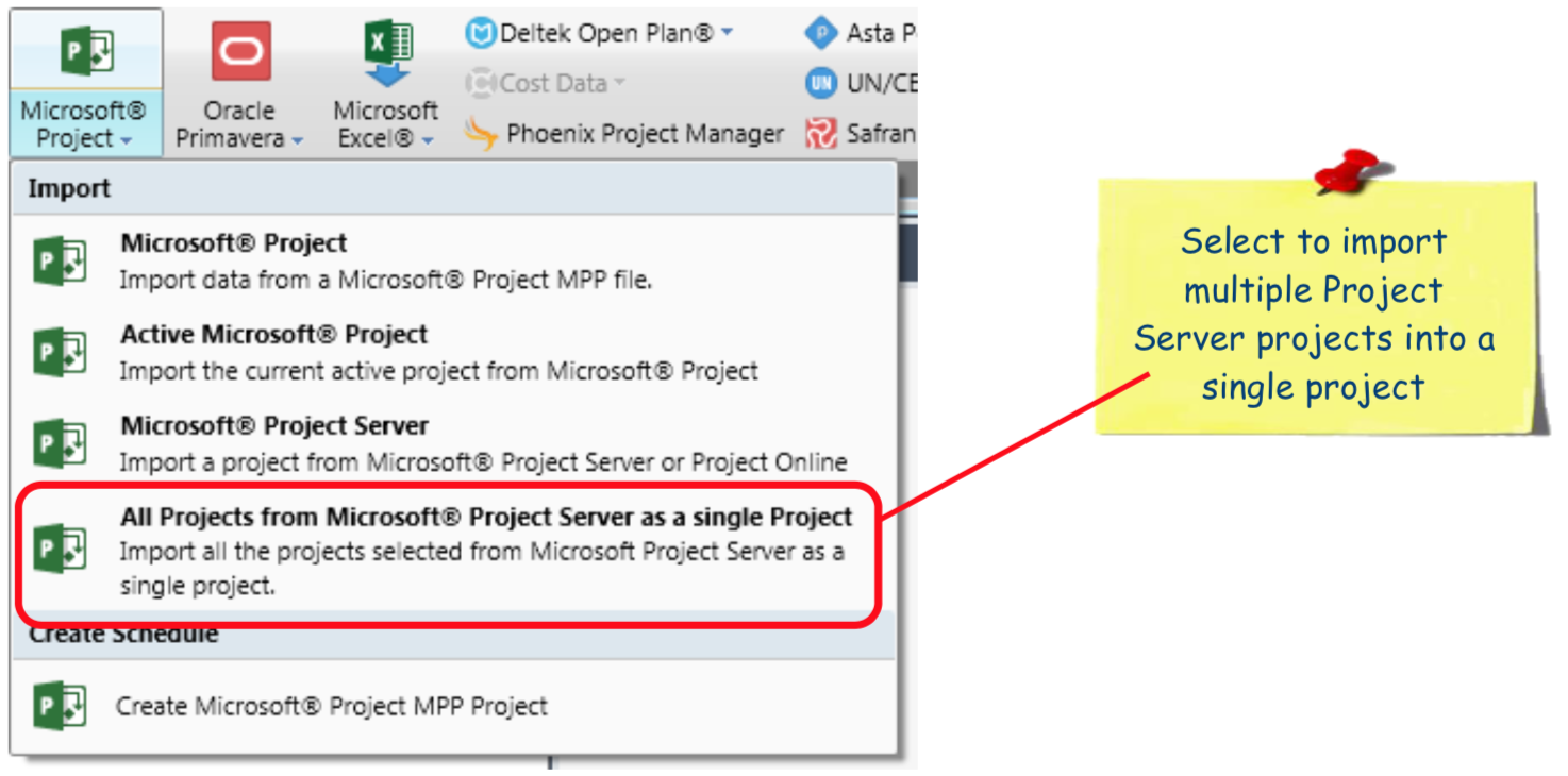 Import Multiple Project Server Projects into a Single Project