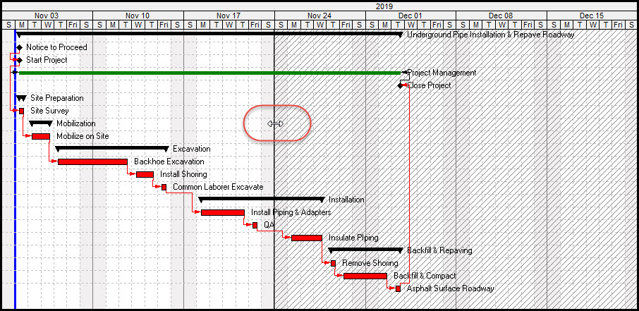 Shaded Time Periods on the Primavera P6 Gantt Chart