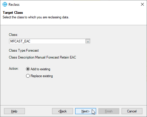 Deltek Cobra Initialize the Retain EAC Forecast Class