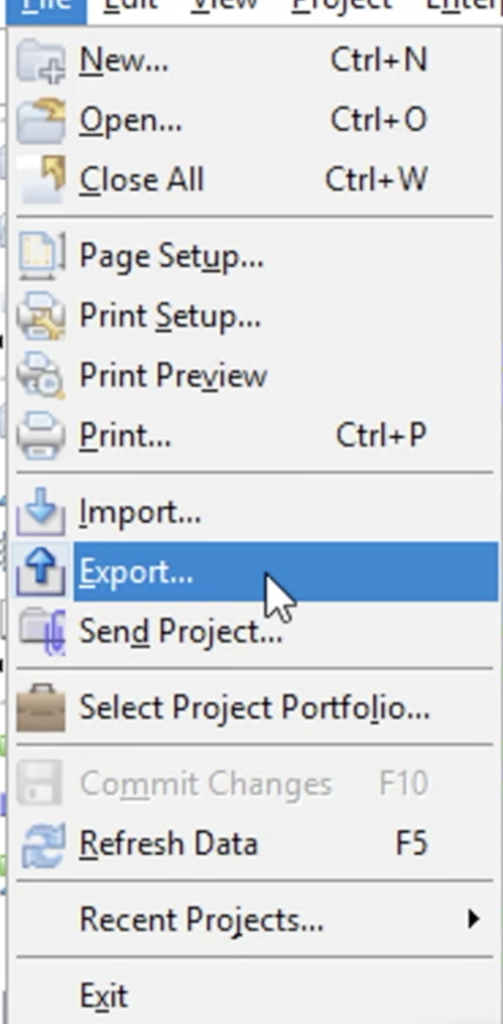 Select Export Option from Menu
